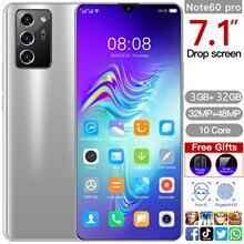 Cectdigi note60 pro smartphone 7.1 Polegada tela cheia 8 núcleo cpu 5600mah 3gb 32gb 4g inteligente wake-up, impressão digital