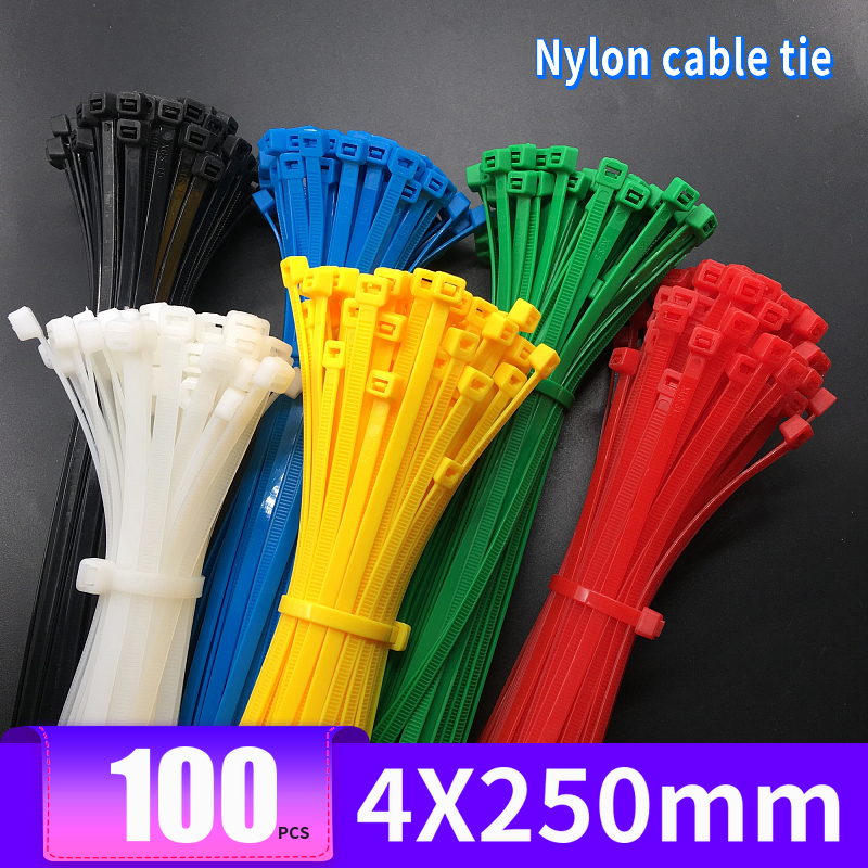Colored Nylon Cable Tie 4X250mm Solid Width 3.6mm Length 250mm 100 Pcs / Pack Gardening Ties