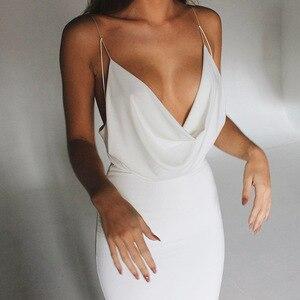 2021Women Sexy Backless Bodycon Strap Dress Low-Cut Elegant Fake Satin Party Dress for Woman Sexy Club Midi Dresses