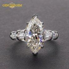 Женское кольцо с мусанитом из серебра 100% пробы 8x14 мм
