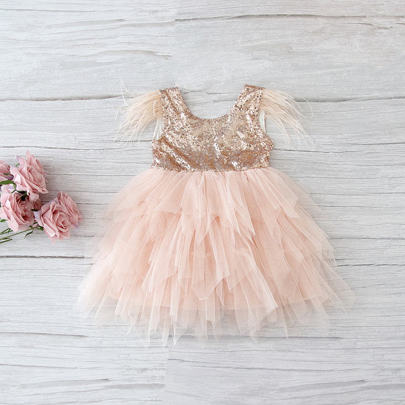69-1-E13846-Feather Sequins Tiered Girls Dress