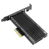 JEYI volley-star-PRO noir dissipateur thermique M.2 NVMe SSD NGFF à PCIE X4 adaptateur MKey Port carte PCI-E 3.0x4 pleine vitesse RGB LED
