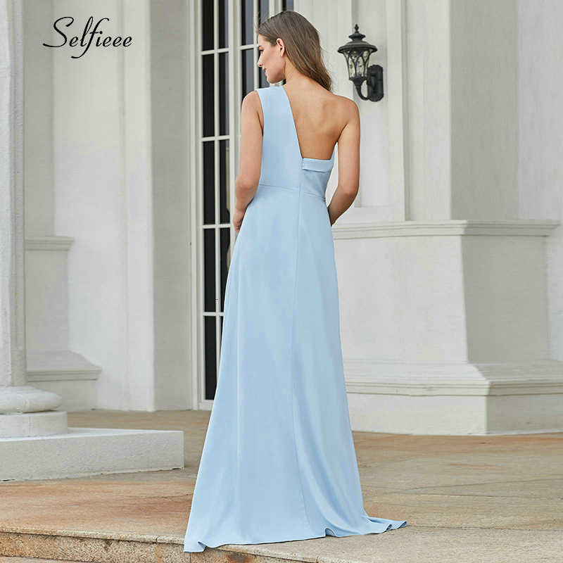 Nieuwe Mode Blauwe Maxi Jurk Asymmetrische One-Schouder Mouwloze Side Split Elegante Lange Party Dress Vestidos De Fiesta 2019
