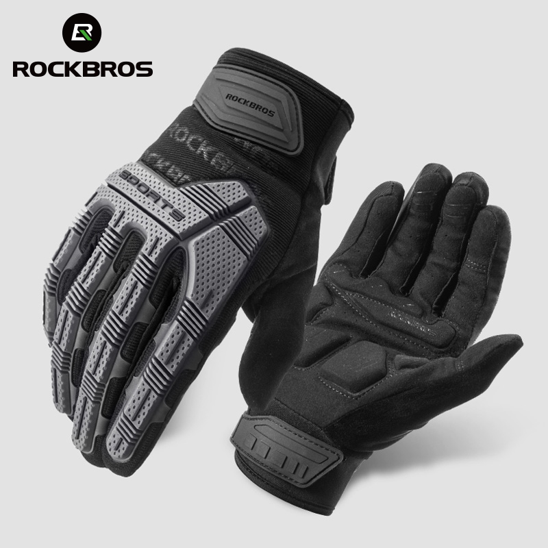 ROCKBROS Windproof Cycling Gloves Autumn Winter Bicycle Gloves Touch Screen Bike Gloves Thermal Warm Bicycle Accessories