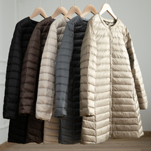 Women's Light Down Jacket Autumn Winter Long Large Size Round Neck Snap Button L