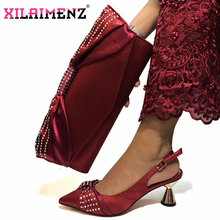 New Arrivals Wine Color Italian Matching Shoes and Bag Set with Shinning Crystal Comfortable Heels for Wedding Italian Style