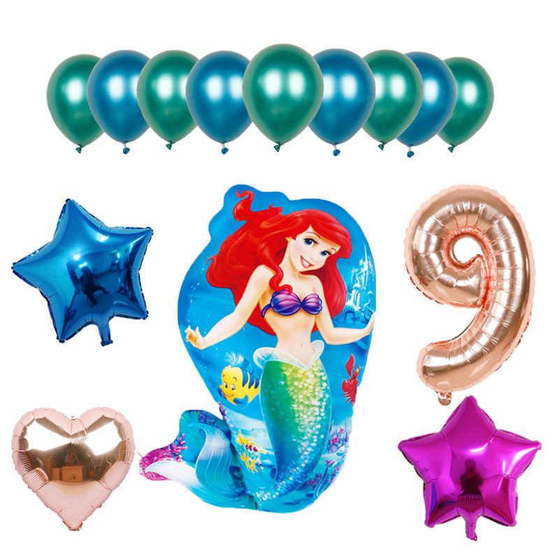 14 Pcs Besar Belle Putri Duyung Putri Foil Balon Ulang Tahun Balon Acara Dekorasi Pesta Udara Bola Mainan