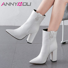 ANNYMOLI Winter Ankle Boots Women High Quality Thick Heel Short Boots Slip on Super High Heel Shoes Ladies Autumn Big Size 34-43 jady rose strange heel women ankle boots high heel wedge shoes woman slip on wedges female autumn winter boot women pumps