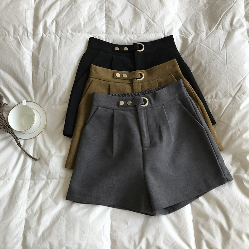 Mooirue 2019 Spring Autumn Fashion Korean Short Pants Female  High Waist Wool Drawstring Black Gray Straight Shorts Hotpants
