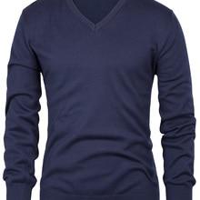 Мужской свитер, теплый зимний стильный длинный рукав, v-образный вырез, одноцветная одежда, мужской модный классический джемпер, пуловер, вязаный свитер, топы