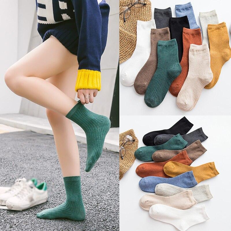 3pair/set Cotton Female Tube Socks Solid Color Breathable Long Socks Double Needle White Black Green Women's Socks Casual Hot