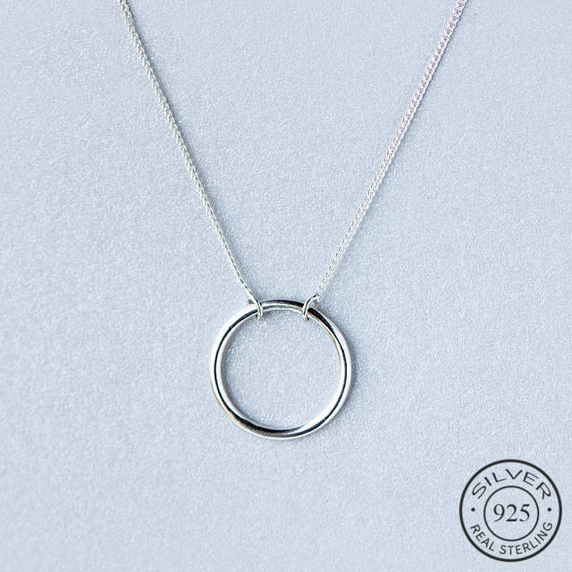 Minimalist Real 925 Sterling Silver Geometric Round Pendant Necklace 925 Sterling Silver Fashion Jewelry For Women Gift