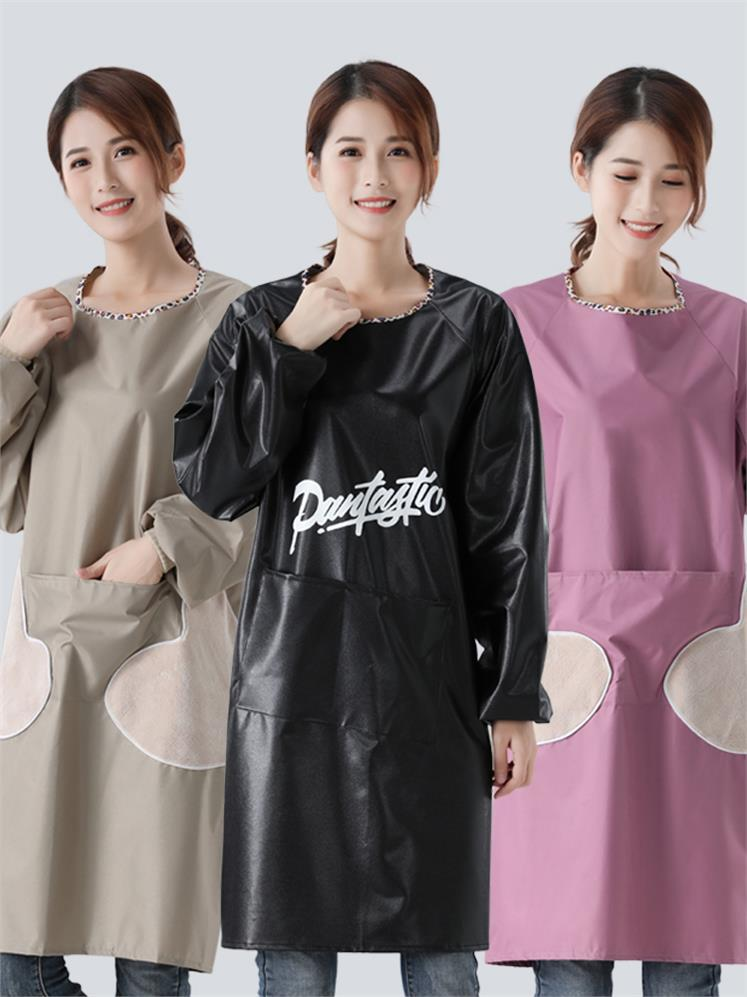 Apron Household Kitchen Overclothes Coat Waterproof Oil Resistant Long Sleeve Adult Women's Fashion Cooking Sleeved Apron Bib|Oversleeves| |  - title=
