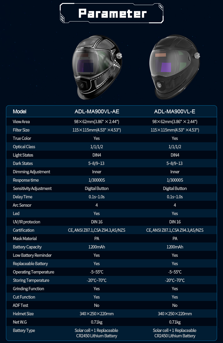 Máscara de Soldar con luz LED modelo ANDELI ADL-MA900VL-E/AE ajustable MIG TIG MMA,