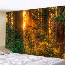 Forêt plante paysage tapisserie paysage naturel tapisserie tenture murale indien jeter Mandala Hippie couvre-lit bohème décor à la maison