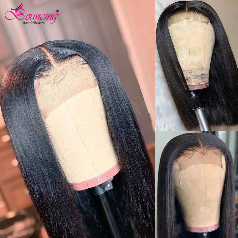 Bouncing Brazilian Remy Hair Straight 4X4 Lace Closure Human Hair Wigs 8-26 Inch Middle Part Pre Plucked Lace Part  Wigs