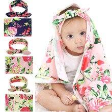Мода 2шт новорожденных Baby цветочный пеленать обертывание пеленание спальный мешок одеяло оголовье набор
