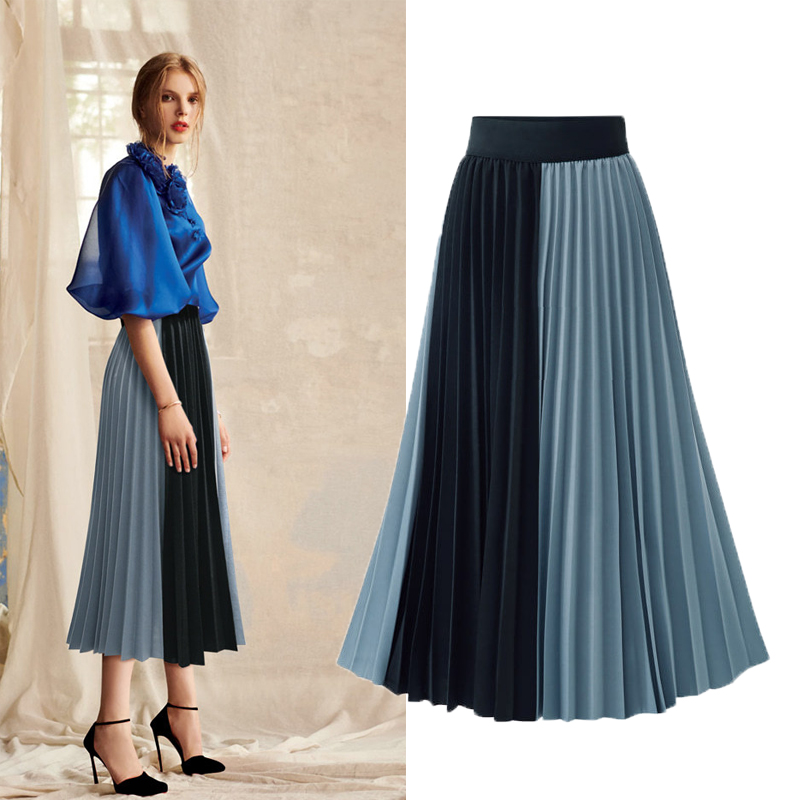 MEEFUR 2019 New Arrivals Euro Style Midi Pleated Skirt For Women Blue Apricot Skirts Womens Elastic Waist Female LX6008
