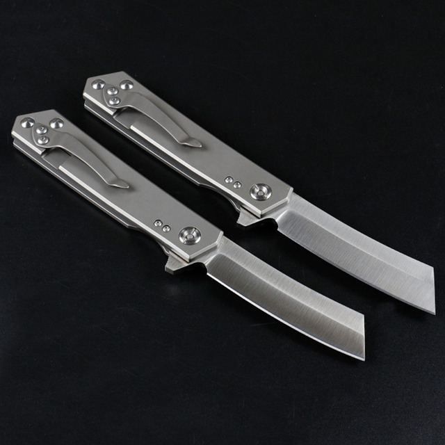 Outdoor folding knife multifunctional D2 steel titanium alloy handle folding knife camping survival portable knife 6