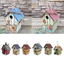 Maison d'oiseau suspendue avec fleur, cordon de Jute, coccinelle, décoration de jardin, nid suspendu