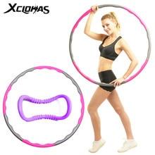 Xc lohas 8 peças esporte hoop destacável cintura fina aro yoga círculo pilates anel ponderada instalar massagem emagrecimento círculo mágico