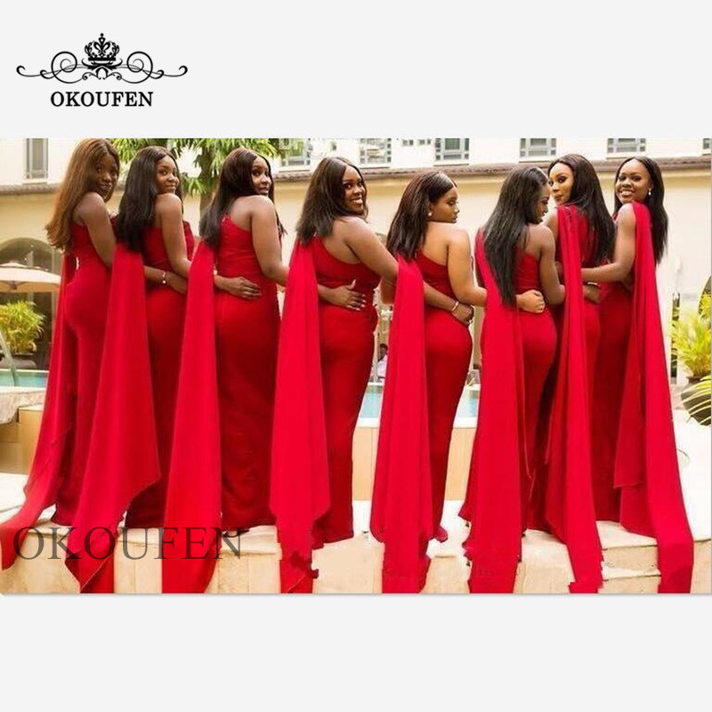 Fashion Cap Ribbon Mermaid Bridesmaid Dresses For Women Red One Shoulder Long Dress For Wedding Party Gown