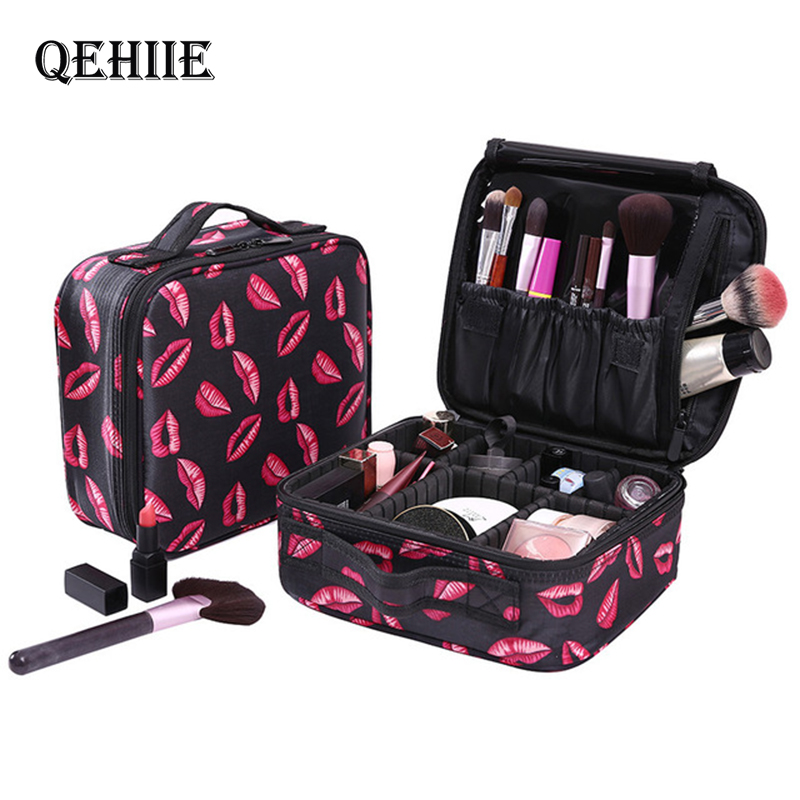 QEHIIE New Fashion Women Cosmetic Bags Travel Makeup Professional Make Up Box Cosmetics Pouch Bags Beauty Case For Makeup Artist