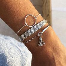 Moda feminina pulseiras personalidade multicamadas corrente disco borla pulseira conjunto moda festa jóias entrega normal