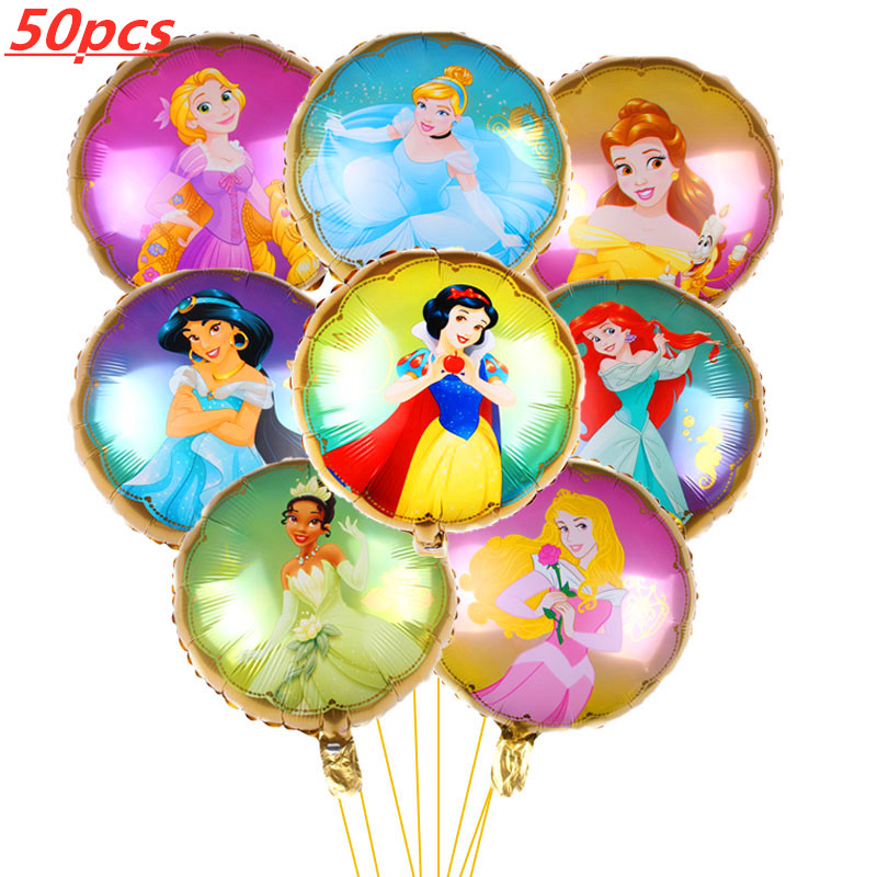 50pcs/set Cartoon <font><b>18</b></font> inch Princess balloons Baby Girl <font><b>Happy</b></font> <font><b>Birthday</b></font> party decorations Party supplies helium balloon Kids toys image