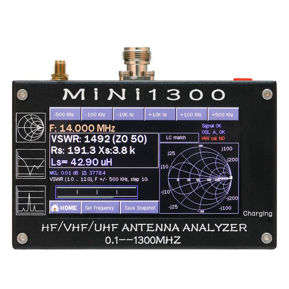 Mini1300 4.3 Inch Digital Display Touching Screen TFT LCD 0.1-1300MHz HF VHF UHF ANT SWR Antenna Analyzer Meter