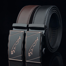 Belt Automatic-Buckle Leopard Men's for Young And Middle-Aged Two-Layer New