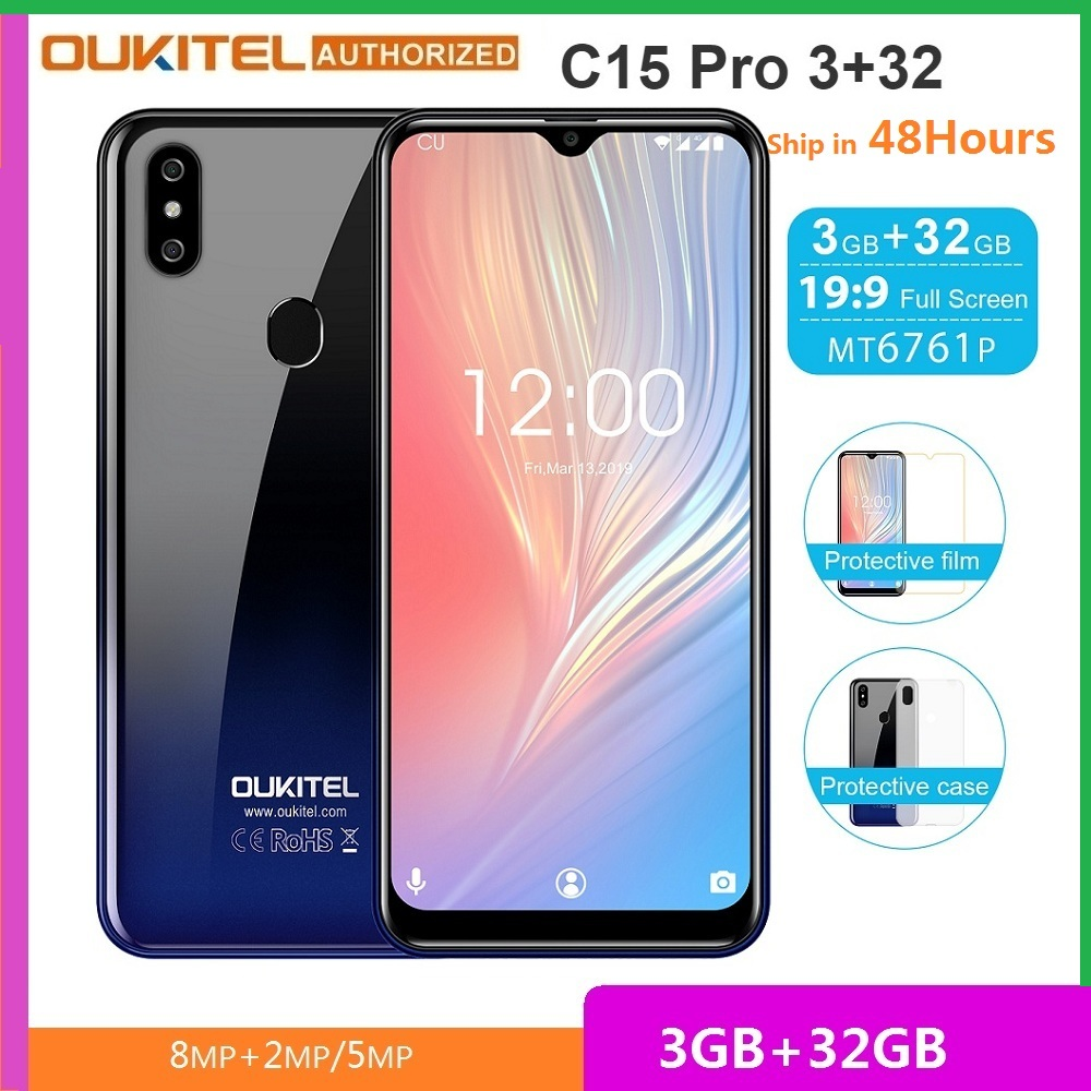 OUKITEL C15 Pro 3+32 4G Smartphone 6.088-inch MT6761 Quad-core 8MP+2MP Face ID & Fingerprint Mobile Cell Phone 3GB RAM 32GB ROM