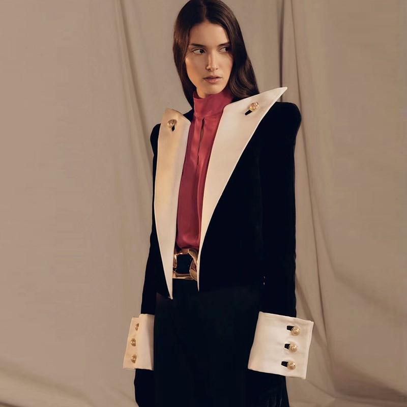 HIGH QUALITY 2019 New Fashion Designer Blazer Women's Big Collar Color Block Velvet Blazer Short Jacket
