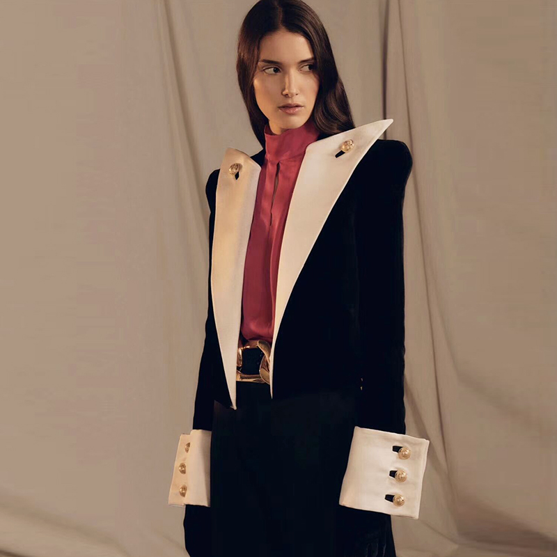 HIGH QUALITY 2020 New Fashion Designer Blazer Women's Big Collar Color Block Velvet Blazer Short Jacket