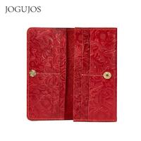JOGUJOS Genuine Leather Passport Holder Wallets Women Embossed Travel Passport Cover Purse Luxury Ladies Id Card Passport Cover