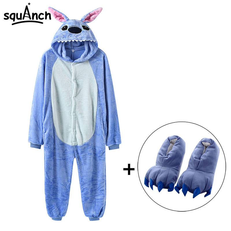Stitch Onesies With Slippers Overalls Adult Women Men Blue Animal Kigurumis Pajama Button Zipper Jumpsuit Funny Outfit XXL Suit