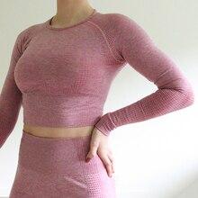 Nepoagym женский бесшовный топ с длинными рукавами, укороченный топ для спортзала, топ для йоги, спортивная одежда для женщин, футболки для тренировок в спортзале
