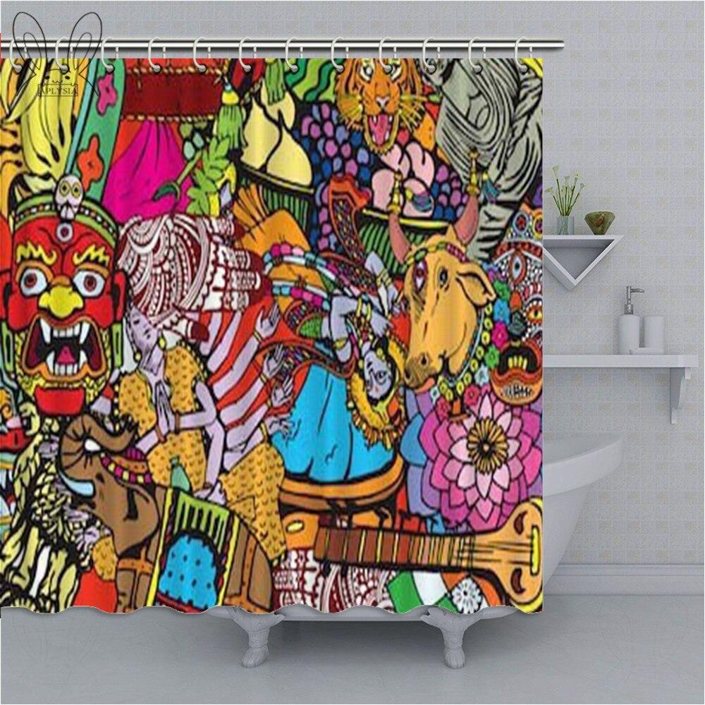 Cortina de Chuveiro Colorido à Prova Aplysia Pintura Abstrata Psicodélico Dwaterproof Água Banheiro Chuveiro Religião Características Nacionais Conjuntos