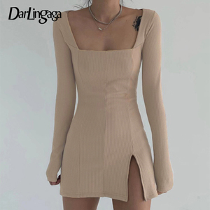 Darlingaga Elegant Square Neck Ribbed Black Dress Female Knitted Side Split Bodycon Dress Long Sleeve Fashion Mini Dresses Basic