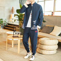 Chinese Traditional Clothes for Men Cotton Linen Tang Suit Sets Shirt + Pants Tai Chi Uniform Kung Fu Suit Plus Size 5XL CN 156