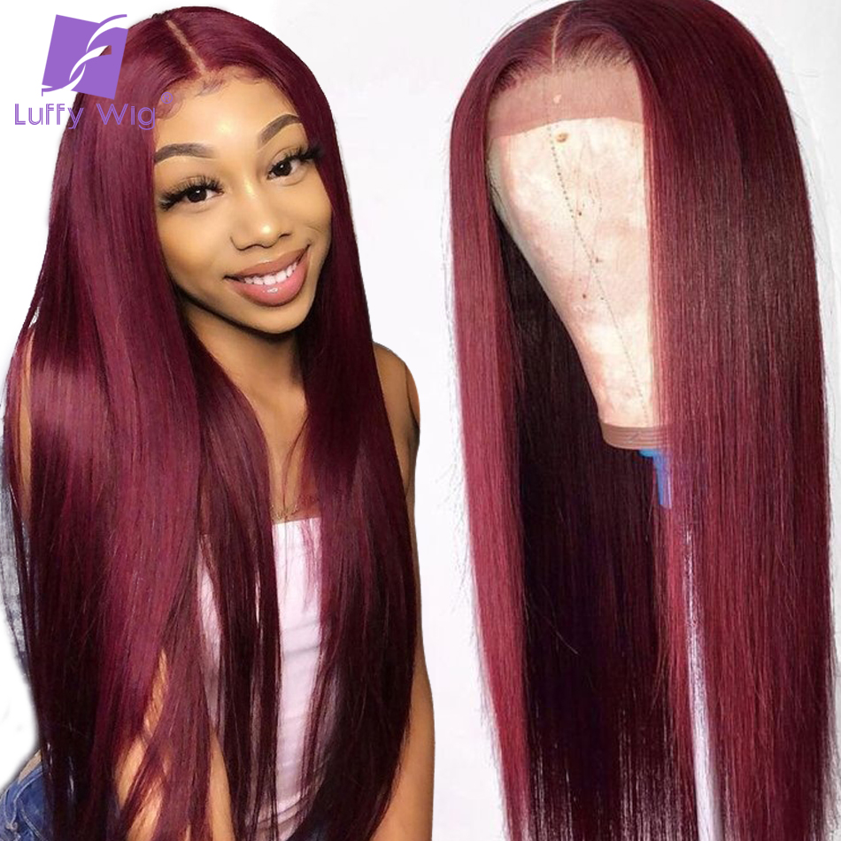 Burgundy 99j Colored Straight 13x6 Lace Front Human Hair Wigs Deep Part Pre Plucked Hairline Brazilian Remy Frontal Wig LUFFY