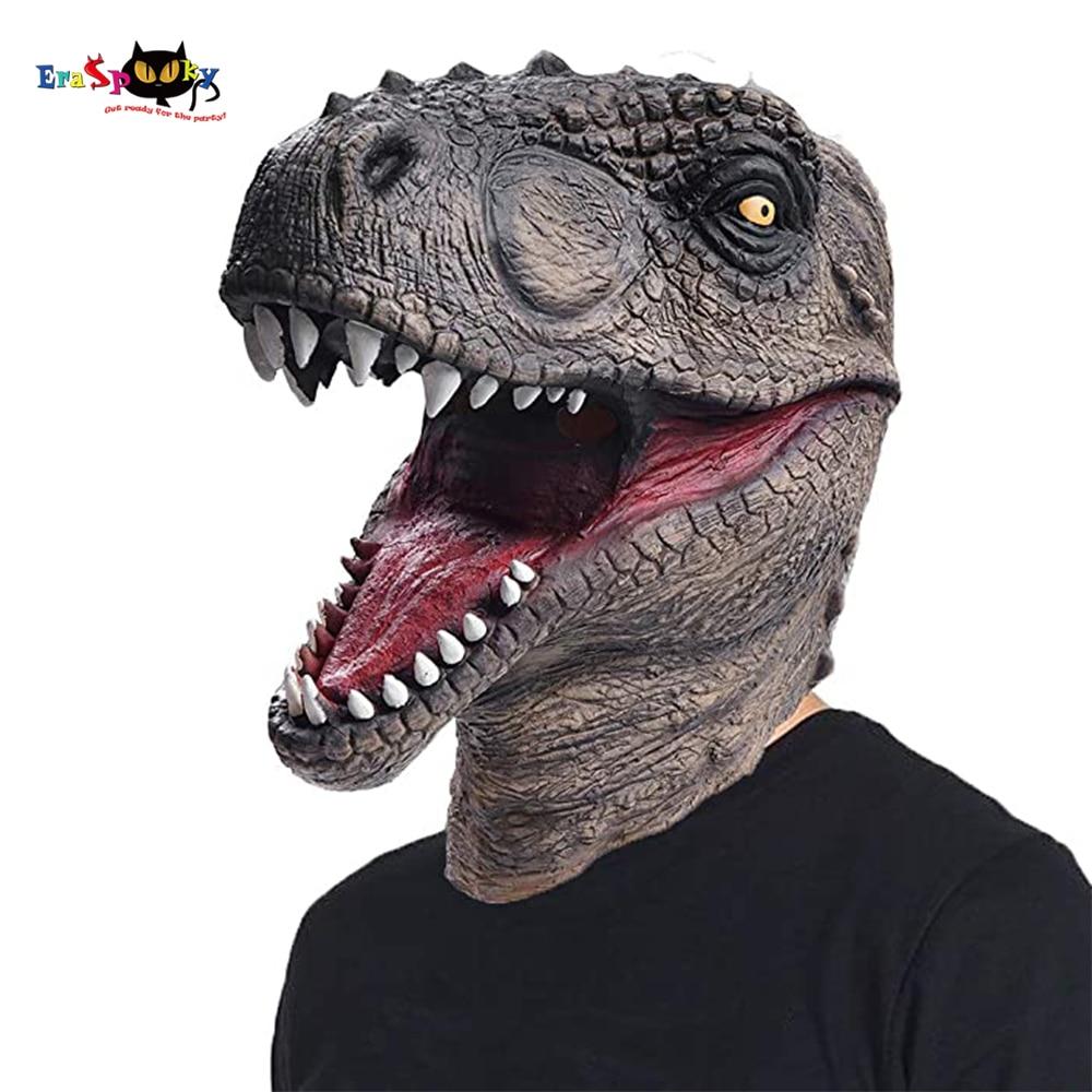 Eraspooky Realistic Jurassic Dinosaur Cosplay Tyrannosaurus Latex Mask Halloween Costume Props For Adult Festival Party Headgear