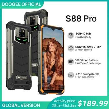 Перейти на Алиэкспресс и купить IP68/IP69K DOOGEE S88 Pro прочный мобильный телефон 10000 мАч телефон на процессоре Helio P70 Octa Core 6 ГБ Оперативная память 128 Гб Встроенная память Смартфон ...