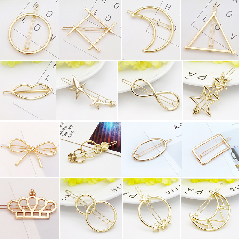 1PC Fashion Metal Triangle Moon Animal Girls Hair Pins Elegant Barrettes Sweet Hair Grips Women's Hair Accessories HeadWear