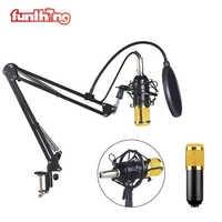 Micrófono condensador profesional BM800 Kit con soporte voladizo PC móvil Compatible estudio micrófono para grabación Vocal BM800