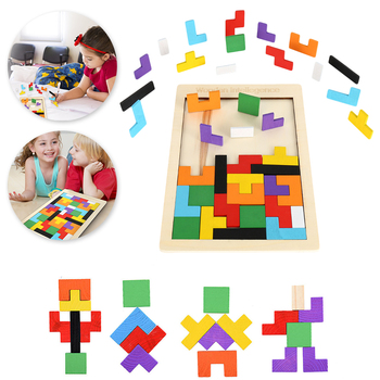 Puzzle Wooden Jigsaw Board Math Toys For Children Tangram Brain Teaser Kids Puzzle Toys Game Education Montessori Cubes Gifts flyingtown montessori teaching aids balance scale baby balance game early education wooden puzzle children toys