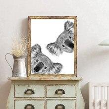 Bonito curioso coala quadros de arte da lona e cartaz moderno preto e branco curioso koala pintura da parede sala estar decoração