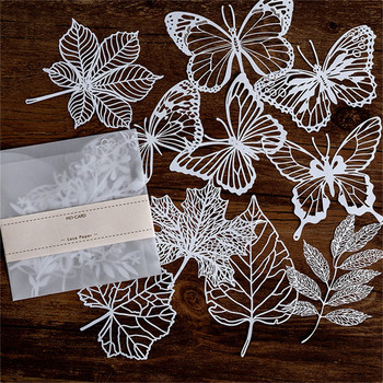 Eastshape 10 pcs Lace Paper Hollow Packaging Butterfly Leaves Decoration Pattern Not metal cutting dies Scrapbook New