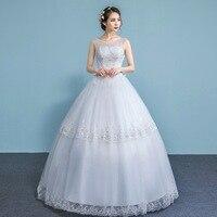 Sexy Scoop Light Wedding Dress 2019 Beaded Appliques Sleeveless Bride Dresses Sweep Train Illusion Wedding Gowns Trouwjurk