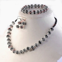 Free Shipping!Wholesale 3 Sets/Lot Handmade Black Crystal Glass Beads Jewelry Set Necklace,Earring and Bracelet 225